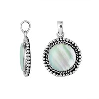 AP-6211-MOP Sterling Silver Round Shape Pendant with Mother Of Pearl