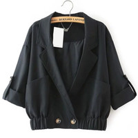 Notch Lapel Pockets Black Jacket