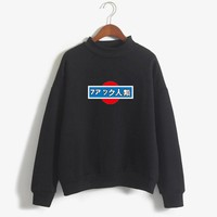 Letter Printed Sweatshirt Women O-neck Long Sleeve Thicken Hoodies Japanese Casual Female Moletom Pullover