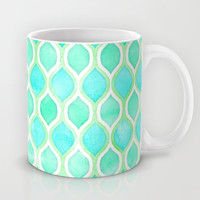 Watercolor Pattern in Aqua, Lime & Mint on White Mug by Micklyn