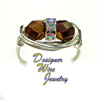 DWJ0397 Faceted Bronze Luster Czech Art Glass Duet Silver Plated Wire Wrap Ring All Sizes