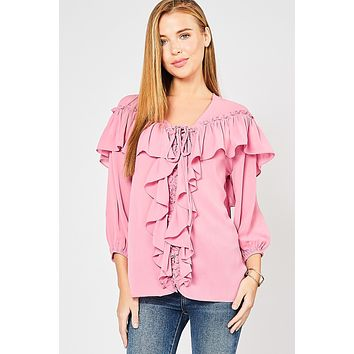 Entro Ruffle Front Lace Up Blouse