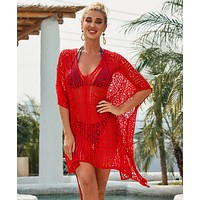 New holiday style knit loose-fitting strappy fringed bikini swimsuit beach blouse red