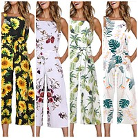 Floral Print Sleeveless Jump Suit, Sizes S - XL