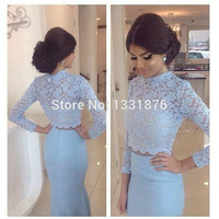 Light Blue 2 Piece Prom Dresses 2017 High Neck Elegant Mermaid Evening Dress Long Sleeve See Through Lace Formal Party Gowns