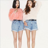 Retro Vintage Straight High Waisted Shorts Trousers Pants  _ 8247