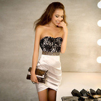 Womens Vintage Lace Backless Beaded Bodycon Evening Cocktail Party Mini Dress