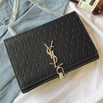 YSL Fashion New More Letter Leather Chain Shoulder Bag Crossbody Bag Black