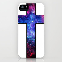 Galaxy Cross iPhone Case by Lyrical Thrift Shop
