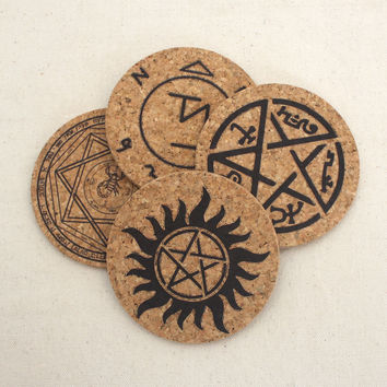 Supernatural Protection Symbols Themed Cork Coaster Set of 4