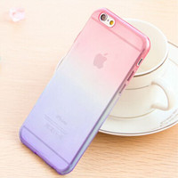 Pink and Blue Candy Color Gradient Soft TPU Clear Transparent Phone Protector Case Cover Shell For iPhone 4 4S 5 5S SE 6 6S 6 Plus 6S Plus