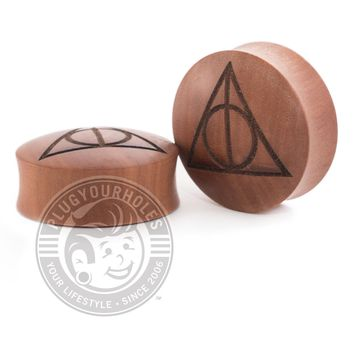 Deathly Hallows Engraved Wood Plugs