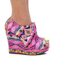 Pretty Pink HIPPIE Aztec Tribal Wedge Booties