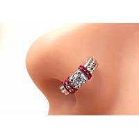 Prong Set Clear Crystal Nose Ring Tragus Daith Rook Cartilage Hoop