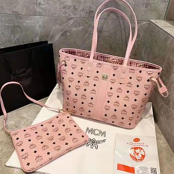 Samplefine2 MCM Classic Women Leather Shoulder Bag Satchel Tote Handbag Crossbody Set Two Piece Pink