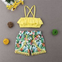 1-7T Kid Toddler Baby Girl Clothes Set Ruffle T-Shirt Tops Floral Tassel Shorts Holiday Outfits Set Cute Casual Clothing