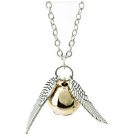 Wings Snitch Golden Necklace - Harry Potter Necklace, Inspired Snitch Necklace,Jewelry, Unisex,