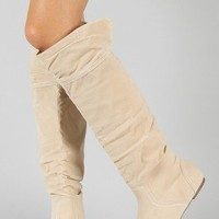 Post-2 Suede Cuff Slouchy Knee High Boot