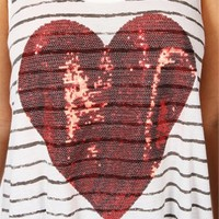 Striped Sequin Heart Top