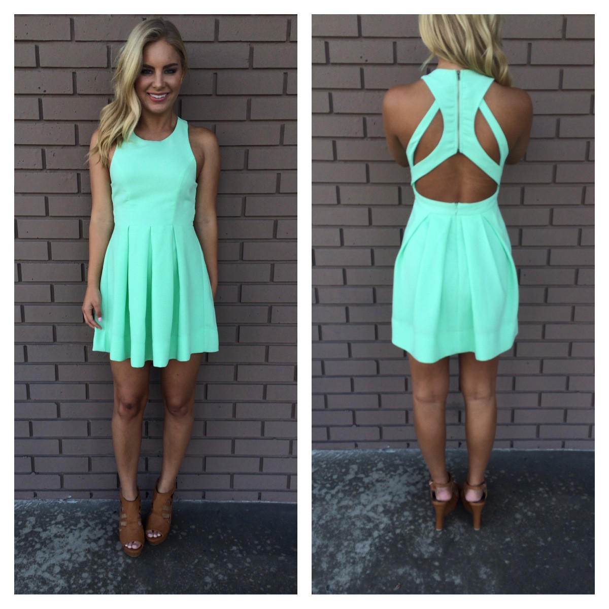 Image of Mint Triad Cut Out Back Dress