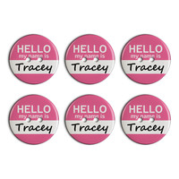 Tracey Hello My Name Is Plastic Resin Button Set of 6