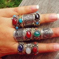 Vintage Tibetan Silver Dorje Amule.Tribal turquoise ring .Gypsy stone ring.stacking ring.Silver Ethnic Bohemian Jewelry.