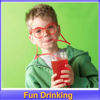 1set Crazy Straw Novelty Items Multi-colors Fun Drinking Unique Flexible Novelty Soft Glasses funny Straw Glasses Drinking Tube