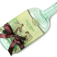 Candoni Pinot Grigio Melted Wine Bottle Cheese Board (Large) / Italian Wine / Wine and Cheese / White Wine Cheese Tray / Recycled Glass