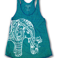 Ethnic Elephant print Tri - Blend American Apparel Tank Top