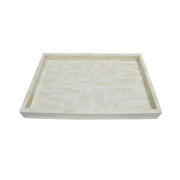 Simon Natural Bone Tray by Worlds Away