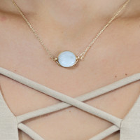 Sky Glass Stone Wrapped Gold Necklace
