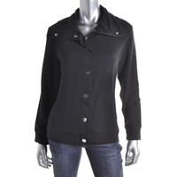 Style & Co. Womens Petites French Terry Long Sleeves Athletic Jacket