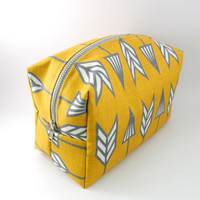 Mustard and Cream Arrow Large Lined Makeup Bag with Metal Zipper, Gadget Case Pencil Case, Zippered, Cosmetics, For Her Under 20