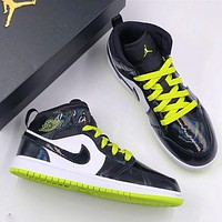 NIKE Air Jordan 1 Space Patent leather Match colors  Black plus fluorescent green