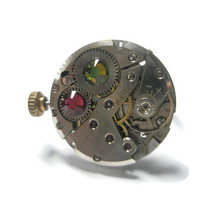 Jewelry Steampunk Ring Vintage Watch Ring clockwork Olivine Green and Fuschia Pink Swarovski crystal Siver Adjustable Band