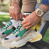 Balenciaga Trending Women Men Casual Contrast Color Sport Running Shoe Lovers Sneakers Green Yellow Beige I