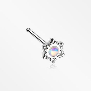 Iridescent Snowflake Sparkle Nose Stud Ring
