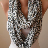 Gift  Scarf - New Scarf - Valentine's Day Gift - Trendy Gift Scarf - Leopard Scarf - Soft Cotton Infinity Scarf
