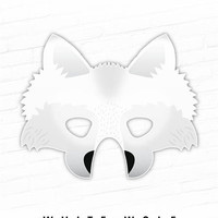 Printable Halloween Mask, Paper Animal Mask, White Wolf Printable Mask, Samoyed, Ghost, Three Little Pigs, Direwolf, Dire Wolf Mask, Props