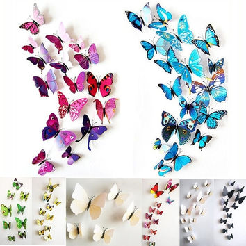 12pcs 3D Butterfly wall stickers home decor Sticker on the Art Wall decal Mural for creative vintage Home appliances kids rooms = 1946006404