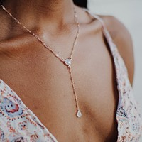 Luna Moonstone Y Necklace