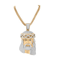 Jesus Christ Pendant Rose Gold Finish Tear Drop With Chain