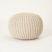Handwoven Hacky Pouf by Anthropologie Neutral