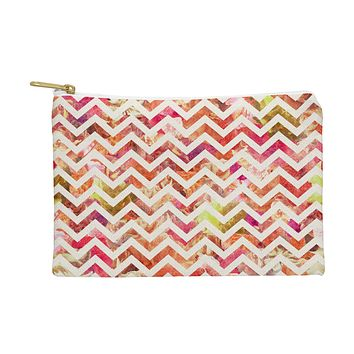 Bianca Green Floral Chevron Pink Pouch