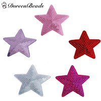 DoreenBeads 3 PCs Iron On Patch DIY Craft Star Appliques Sequin Patches For Clothing Trousers Bags Stickers Sewing Accessories