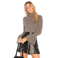 VAVA by Joy Han Women's Valerie Turtle Neck Top with Lace Bell Sleeves