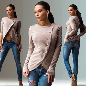 Women Solid Button Sexy Erotic   Sweater Cardigan Coat Jacket Outerwear _ 10194