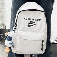 NIKE New fashion letter hook print backpack bag book bag handbag White