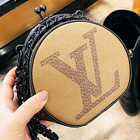 Hipgirls LV New fashion monogram print leather chain shoulder bag crossbody bag
