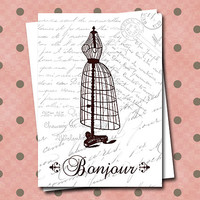 French Dress Form Bonjour Fancy Script Sepia Tone Greeting Cards Note card Set Blank Set of 6